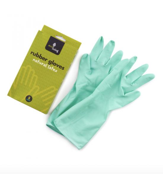 Зелёные резиновые хозяйственные перчатки размер S, Eco Living