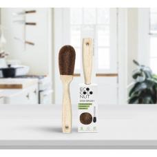 Кокосовая щетка с ручкой для мытья посуды Ecococonut