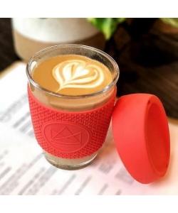 Скляний кухоль для кави з собою Neon Kactus, червоний