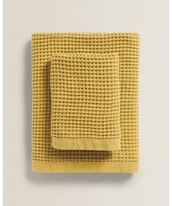 Вафельное полотенце для лица Zara home, желтый