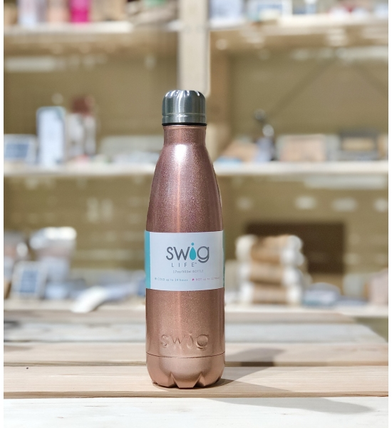 Термопляшка Swig life, візерунок rose gold