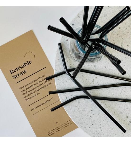 Многоразовые трубочки для напитков Olsen+Olsen, Черные СОГНУТЫЕ