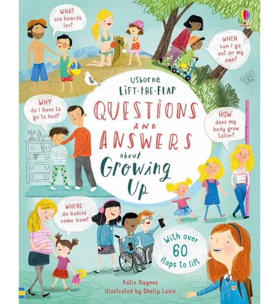 Книга з віконечками Lift-the-flap Questions and Answers about Growing Up, Usborne