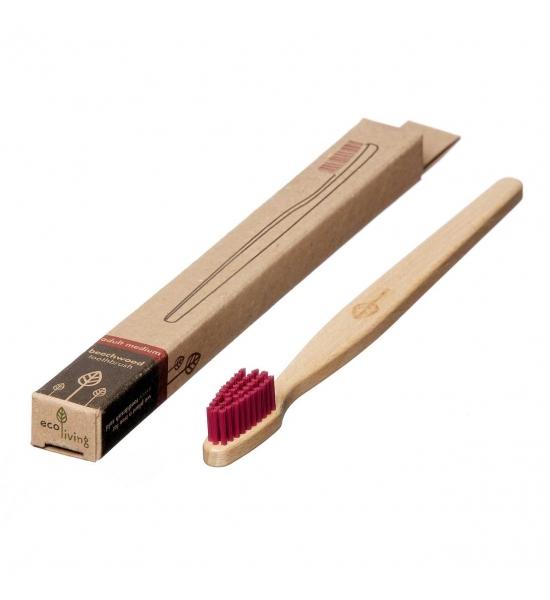 Натуральна веганська зубна щітка Ecoliving, малинова