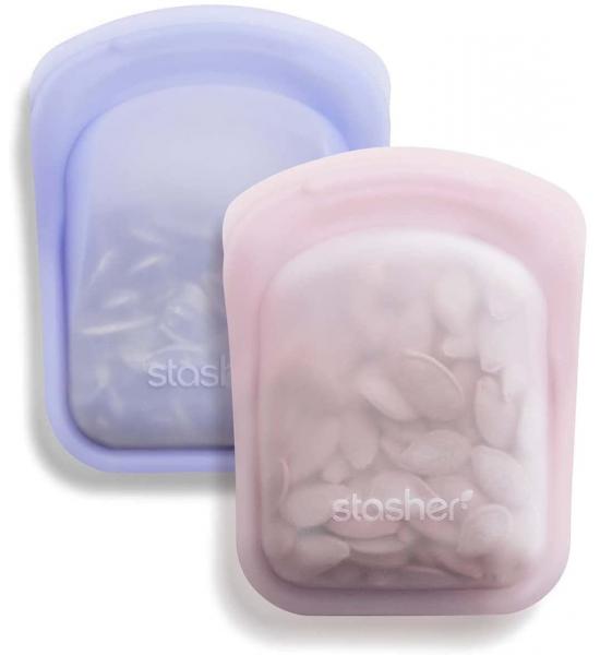 Силиконовые карманные органайзеры Stasher, pocket bags set Розовый/Лаванда 2 шт