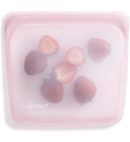 Силіконовий харчовий контейнер Stasher, sandwich bag 450 мл, колір Rainbow Pink